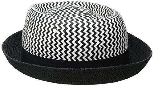 Ben Sherman Men's Two Tone Straw Pork Pie Hat, Black, S-M