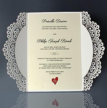 white lace wedding invitations with ribbon bow elegant bridal shower invitation cards set of 50