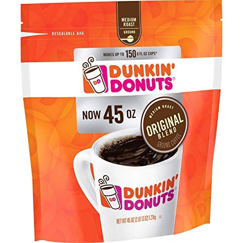 Dunkin Donuts Original Blend Medium Roast Ground Coffee, 40 Ounce – PACK OF 6