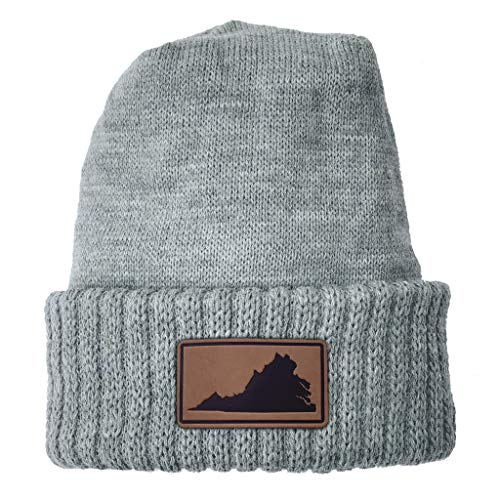 (Homeland Tees Virginia Leather Patch Cuff Beanie Grey)