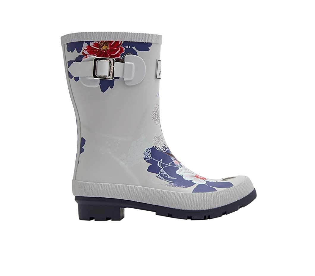 Silver Floral Joules Women's Molly Welly Rain Boot