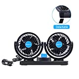 12V Car Cooling Fan With 360°Rotatable Dual Head,2 Adjustable Speed Dashboard Electric Fan With Detachable Velcro Tape,Small Quiet Powerful Auto Fan For Vehicle,Golf Cart,Suv,Back Seat,Boat,Baby,Pet