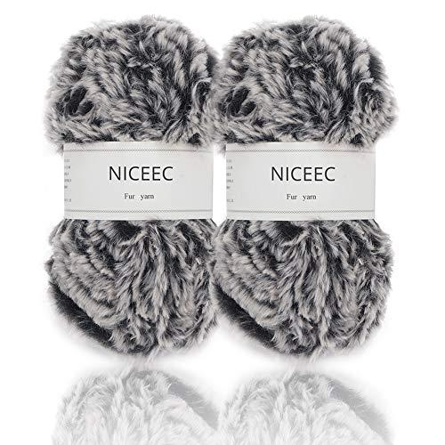 - NICEEC 2 Skeins Super Soft Fur Yarn Chunky Fluffy Faux Fur Yarn Eyelash Yarn for Crochet Knit-Total Length 2×32m(2×35yds,50g×2)-Black with White