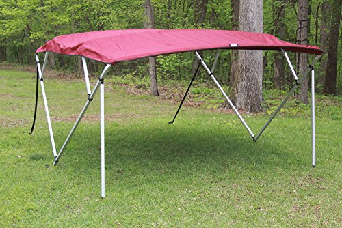 urgundy/Maroon Square Tube Frame 4 Bow Pontoon/Deck Boat Bimini TOP 8' Long, 91-96