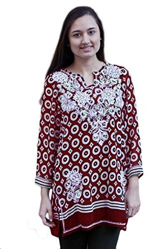 (Ayurvastram Neela Printed Georgette Hand Embroidered Tunic: Red, XS)