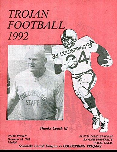 1992 Texas State Final Championship Game Program Southlake Carroll v - Southlake Shops The Of