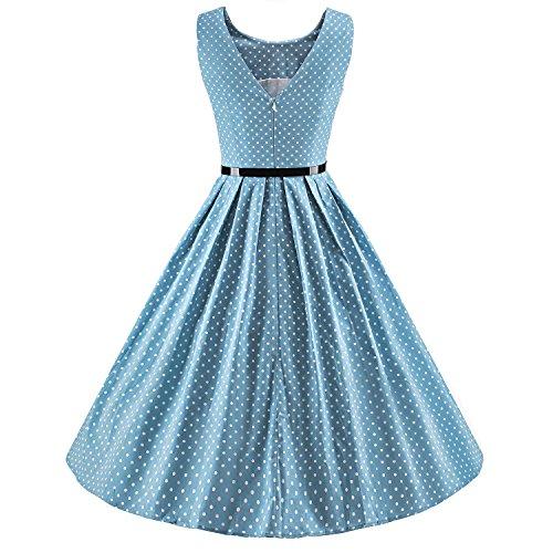 D'epoca Delle V095 Punteggiano Stile Rockabilly Polka Donne 1950 Battente Abiti azzurro Ilover qSzXg