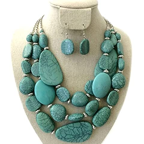 Statement Layered Strands Turquoise Stone-simulated Chunky Beads Necklace Earrings Set Gift Bijoux (Womens Chunky Jewelry)