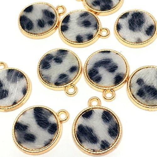 ユキヒョウ柄のコインチャーム 10個 ゴールドベース アクセサリーパーツ ハンドメイド 手芸材料 ストアーズクラブ