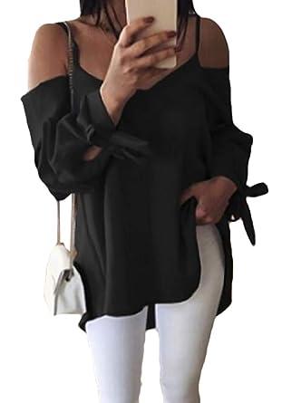 c0a9e53e Wan-T Women's Spaghetti Strap Cold Shoulder Long-Sleeve V Neck Sexy Plain T- Shirts Blouse Tops at Amazon Women's Clothing store: