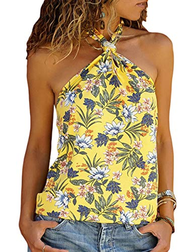 CILKOO Womens High Neck Floral Tank Tops Flowy Halter Top Cami Shirt Casual Sleeveless Blouse Yellow US16-18 X-Large