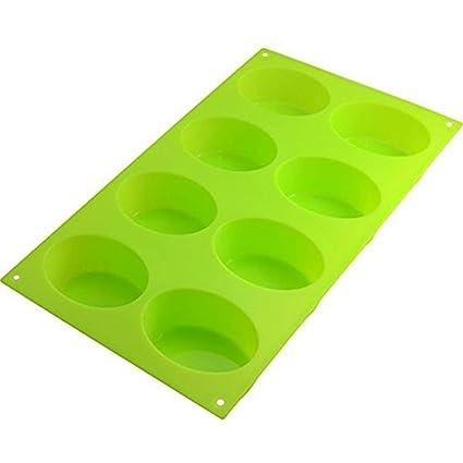 JER Molde para Horno de Silicona para 8 Cupcakes, Forma Ovalada