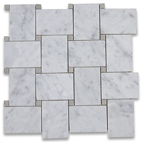 Carrara White Italian Carrera Marble Large Basketweave Mosaic Tile w/ Gray Dots Honed
