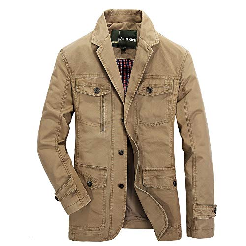 clearance sale!!ZEFOTIM Men's Autumn Winter Fashion Pocket Suit Medium Length Long Sleeve Jacket Coat(XXX-Large,E-Khaki)