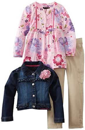 Calvin Klein Little Girls' Jacket With Pink Printed Top and Cargo Pant, Denim, 4