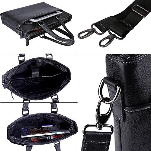 Banuce Genuine Leather Briefcase for Men Women Shoulder Messenger Bag Executive Bussiness Tote Laptop Bag