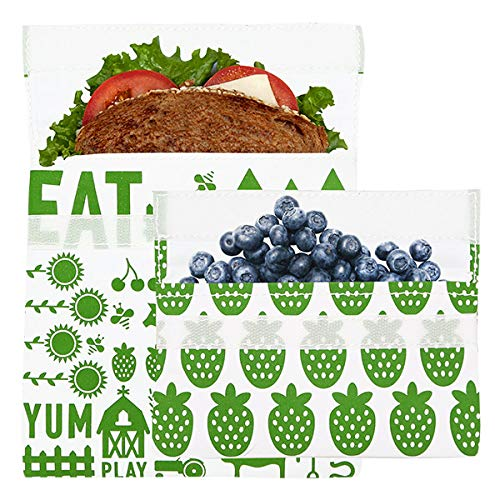 - Lunchskins MP-FARM-GRN Reusable 2-Pack Set Food, Storage Bags, 1 Sandwich + 1 Snack, Green