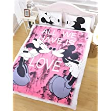MEIREN mickey mouse Love Bedding Set Cartoon Style Duvet Cover Gift for Kids Bed Sheet Home Bedclothes Twin Full Queen , queen