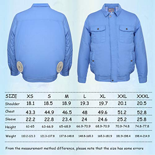 ITIEBO Cooling Clothes & Workwear with Fan & battery pack for man (M, Blue workwear) by ITIEBO (Image #7)