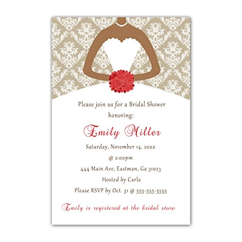 30 Invitations Red Vintage Damask Bouquet Bride Design African American Woman Bridal Shower Party Personalized Cards Photo Paper