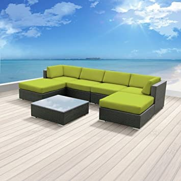 Luxxella Patio Mallina Outdoor Wicker Furniture 7 Piece All Weather Couch  Sofa Set, Peridot