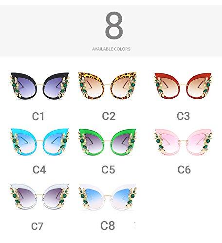 Lunettes Luxury Parti Pink C8 de Bleu Transparent Pynxn Cat Femme Mesdames Femmes Lunette Eye PC Oversize dames Pink Exaggerated Sunglasses zonnebril soleil Gem C6 f5HqP