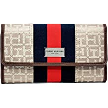 Tommy Hilfiger Signature Jacquard Continental Trifold Wallet Center Stripe