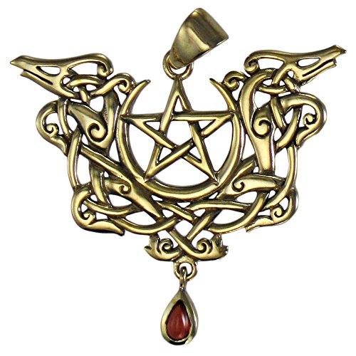 Bronze Viking Knot Dragon Pentacle Pendant with Natural Garnet
