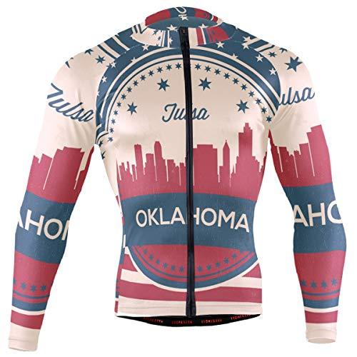 (Oklahoma State Tulsa Skyline Men's Long Sleeve Cycling Jersey Bicycle Jacket Pockets Full Zipper Bike Biking Shirts)