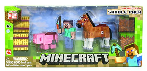 Minecraft-Figure-Set-Overworld-Saddle-Pack-Steve-wwhip-Chestnut-Horse-Pig-wsaddle-2-x-hay-bale-2-x-grass-blocks