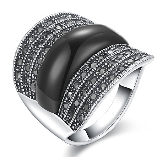 Dnswez Fashion Black Marcasite Stones Wide Band Silver Tone Statement Ring for Women Men(8)