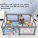 Hulan Portable Baby Play Fence Playard and Baby Game Pen, Lightweight mesh Children's Folding Oxford Cloth 4 Side Panel Activity Center Indoor and Outdoor Suitable for 6-30 Months (Color : Gray)