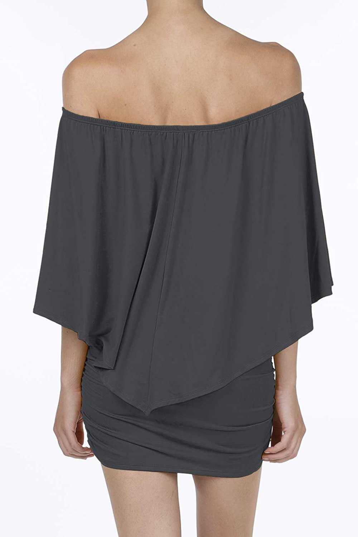 SHOP DORDOR Womens Off Shoulder Ruffle Party Dresses Bodycon Mini Dress