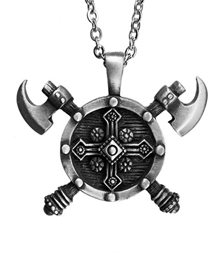 Exoticdream Double Axes Shield Barbarian Viking Cross Gladiator Medieval Knight Pewter Pendant (24