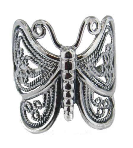 (.925 Sterling Silver Ladies Ornamental Openwork Butterfly Ring, Size 7 )