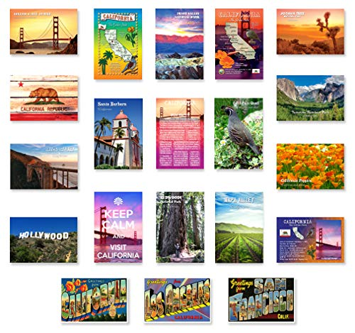 CALIFORNIA postcard set of 20 postcards. CA post card variety pack containing 20 different post cards. Made in USA. (Variety Of Postcards)