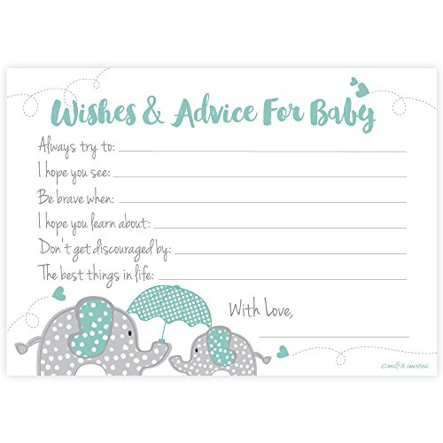 Elephant Boy Baby Shower Wishes and Advice for Baby Cards (50 Count)