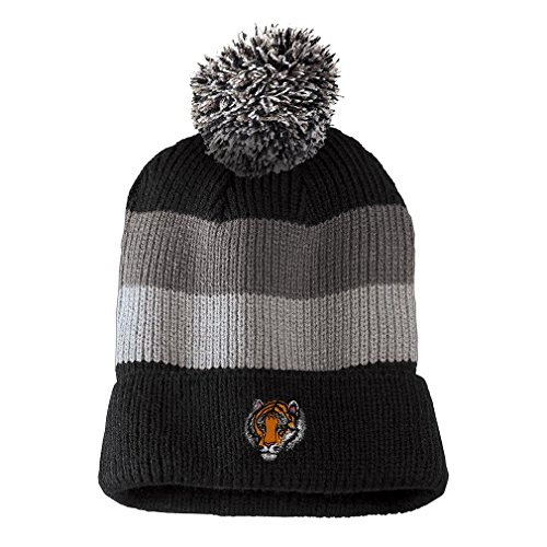(Bengal Tiger Head Embroidered Unisex Adult Acrylic Vintage Striped Removable Pom Pom Beanie Winter Hat - Black/Grey Stripes, One Size)