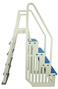 Confer Plastics Above Ground Swimming InPool Step & Ladder | Heavy Duty | White Frame with Blue & Gray Steps | Deck Height Up to 60 Inches | Enter & Exit Your Pool Safely