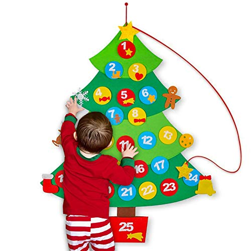 DomeStar Christmas Advent Calender kit, Felt Applique Calendar Wall Hanging Calendar Countdown to Christmas Tree Decorations