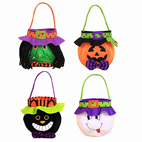 Joygrow 4 PacksHalloween Goodie Bags, Halloween Candy Holder Bag with Handle for Trick or Treating Bags, Halloween Party Favors Bucket Decoration Candy Bucket Gift Costume -