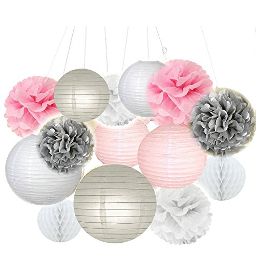 Fascola Pack of 14 White Pink Gray Paper Crafts Tissue Paper Honeycomb Balls Lanterns Paper Pom Poms Birthday Wedding Party (Paper Honeycomb Ball)