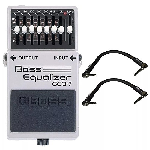 Boss Bass Equalizer (Boss GEB-7 Bass EQ and 2 Roland Black Series 6 inch Patch Cables)