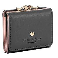 Damara Womens Metal Frame Kiss-lock Small Clutch Cards Holder Wallet,Black