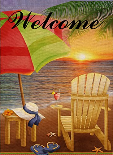Dyrenson Home Decorative Outdoor Garden Flag Beach Chair Umbrella Double Sided, Tropical Ocean House Yard Flag, Coastal Sun Garden Yard Nautical Sea Decorations, Seasonal Outdoor Flag 12 x 18 Summer