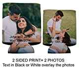 Custom Photo Wedding Can Cooler- 2 Photos one on either side (250)