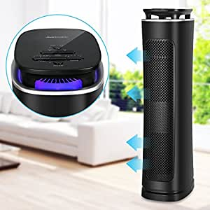 Sancusto Air Purifier, True HEPA Filter Air Cleaner 3 Stages Filtration with Mosquito Trap, Tower Fan, UV Light and Timer Function for for Home, Room and Office, ETL Certified