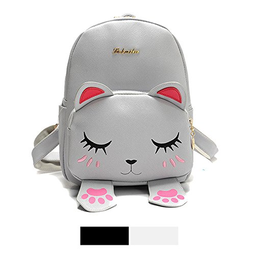 Mini Backpack for Girls Cute Cat Design Fashion Leather Bag Women Casual Fashion(Grey) -