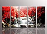 youkuart kx99061f Red waterfall Canvas Print for Abstract Painting Modern Canvas Wall Art for Home Decor the Cloud Tree Canvas Print for Abstract Painting Modern Canvas Wall Art for Home Decor