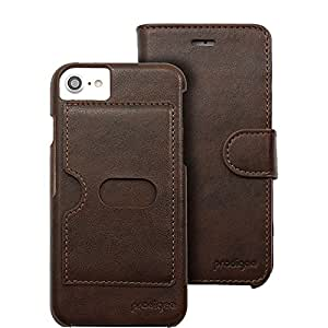 Prodigee [Wallegee Brown for iPhone X 2017 iPhone Xs 2018 Case Leather Cover Wallet Credit Card ID Money Holder Case 2-in-1 Flip Folio